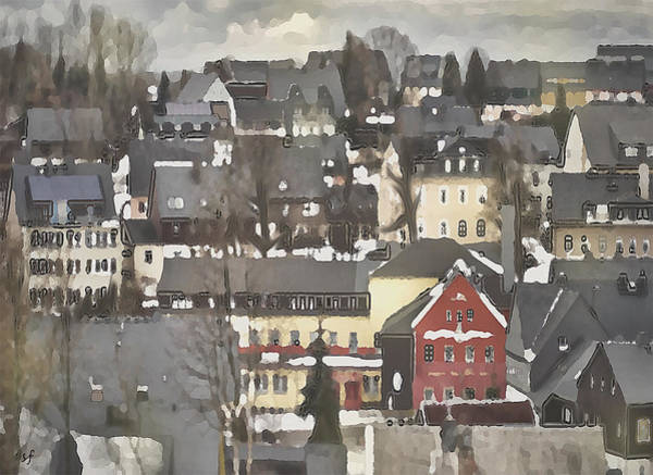 Digital Art - Winter Village With Red House by Shelli Fitzpatrick