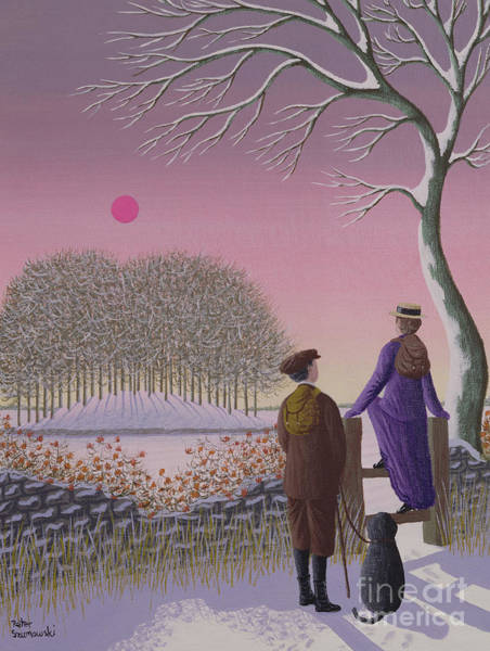 Country Style Painting - Winter Walking  by Peter Szumowski