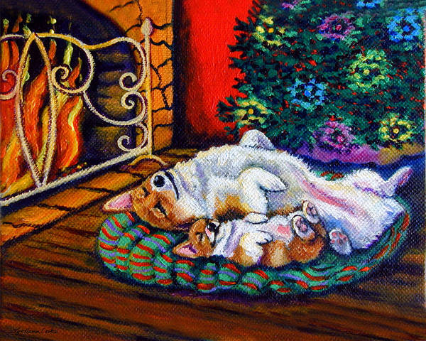 Wall Art - Painting - Winter Warmth - Pembroke Welsh Corgi by Lyn Cook