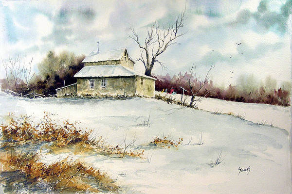 Clothesline Painting - Winter Washday by Sam Sidders