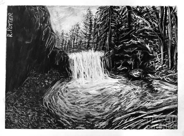 Beautiful Park Drawing - Winter Waterfall by Robbie Potter