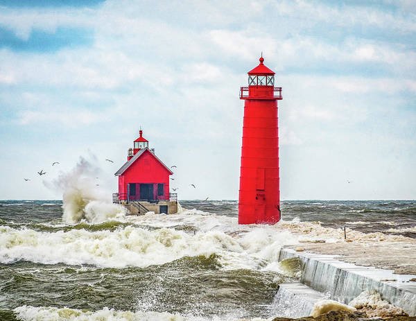 Photograph - Winter Waves At Grand Haven by Nick Zelinsky