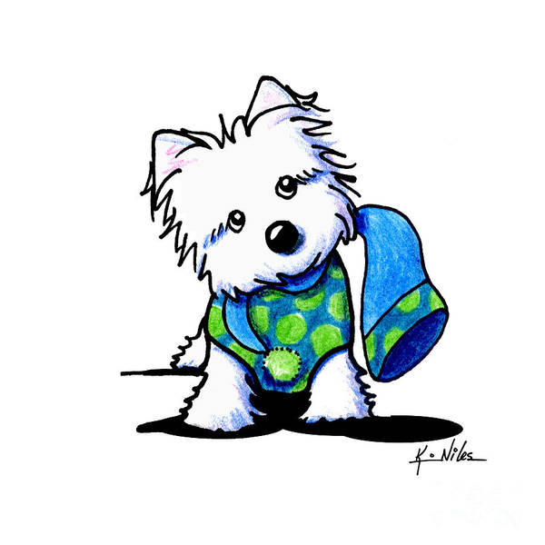 Wall Art - Drawing - Winter Westie With Lime by Kim Niles