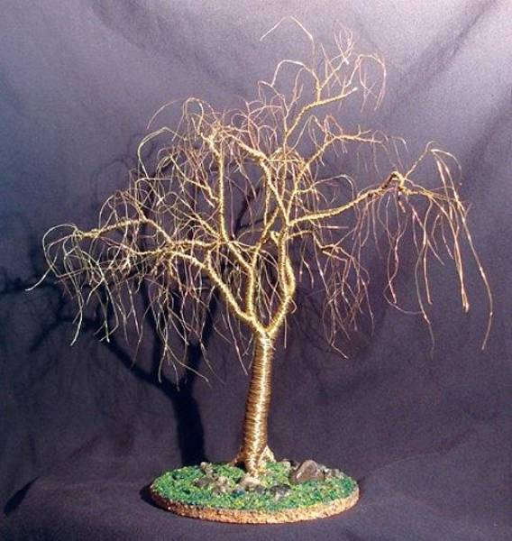 Jade Mixed Media - Winter Willow Wire Tree Sculpture by Sal Villano