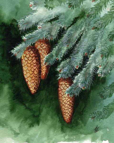 Pine Needles Painting - Winter Windchimes by Carrie Auwaerter