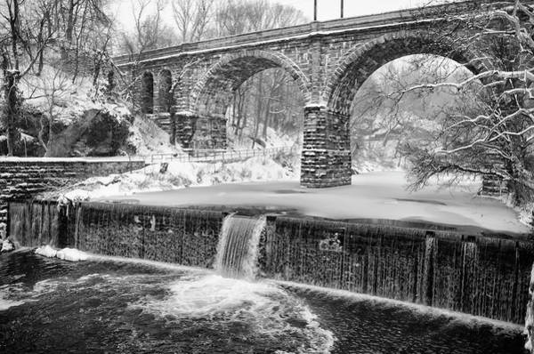 Photograph - Winter Wonderland Along The Wissahickon Creek In Black And White by Bill Cannon