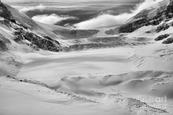 Photograph - Winter Wonderland At The Athabasca Glacier Black And White by Adam Jewell