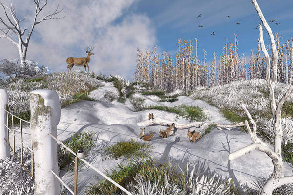 Digital Art - Winter Wonderland Bunnies by Mary Almond
