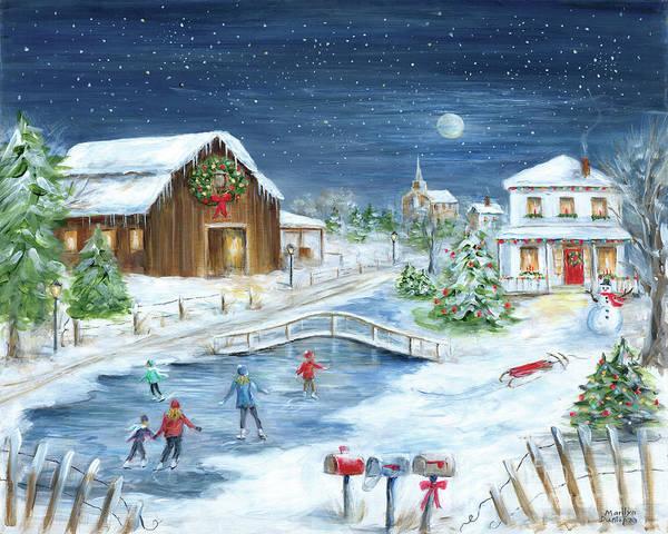Barn Snow Painting - Winter Wonderland II by Marilyn Dunlap