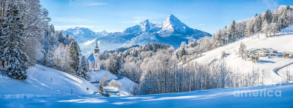 Wall Art - Photograph - Winter Wonderland Landscape In The Bavarian Alps With Church by JR Photography