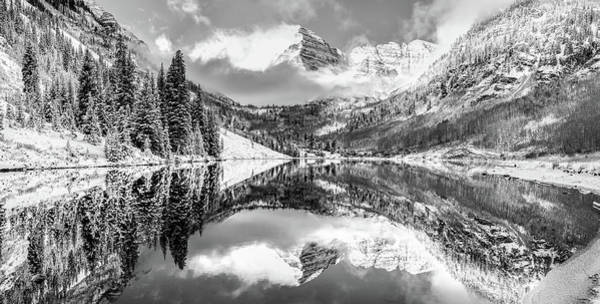 Photograph - Winter Wonderland - Maroon Bell Panoramic - Black And White by Gregory Ballos