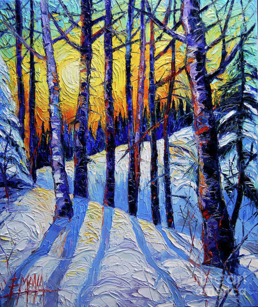 Paysage Wall Art - Painting - Winter Woodland Sunset Modern Impressionism Palette Knife Oil Painting by Mona Edulesco