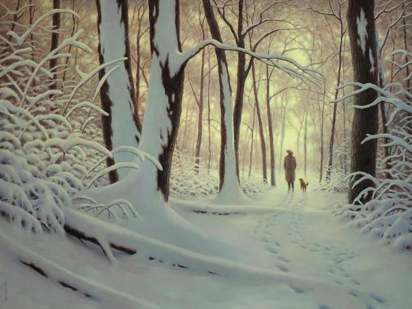 Wall Art - Painting - Winter Woods by Barry DeBaun