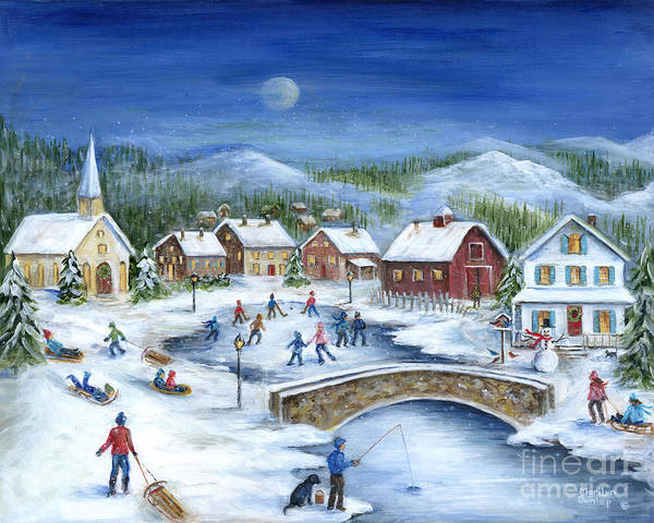 Barn Snow Painting - Winterfest by Marilyn Dunlap