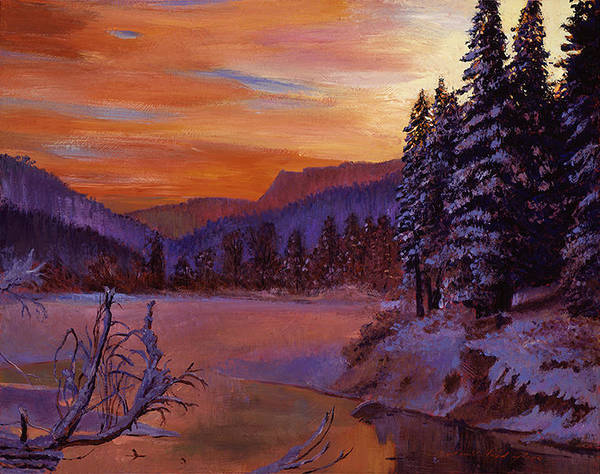 Painting - Winters Daybreak by David Lloyd Glover
