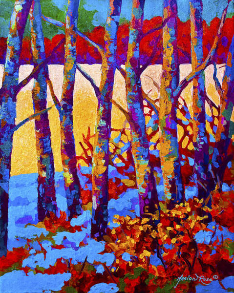 Birches Painting - Winter's Promise by Marion Rose