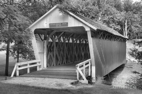 Photograph - Winterset City Park Covered Bridge Black And White by Adam Jewell