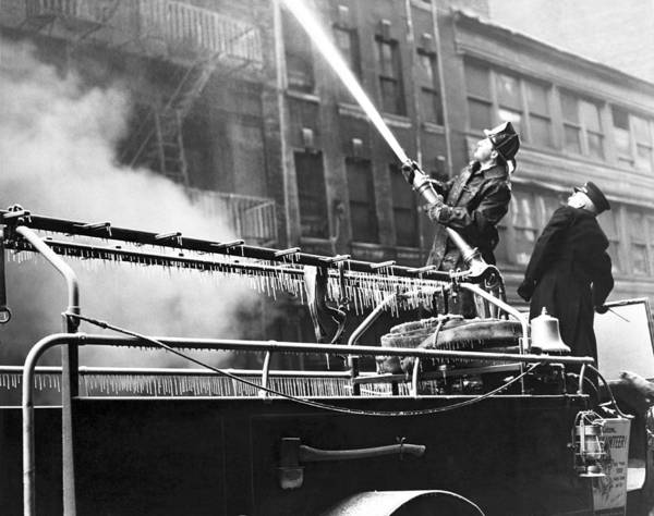 Wall Art - Photograph - Wintertime Fire Fighting by Underwood Archives