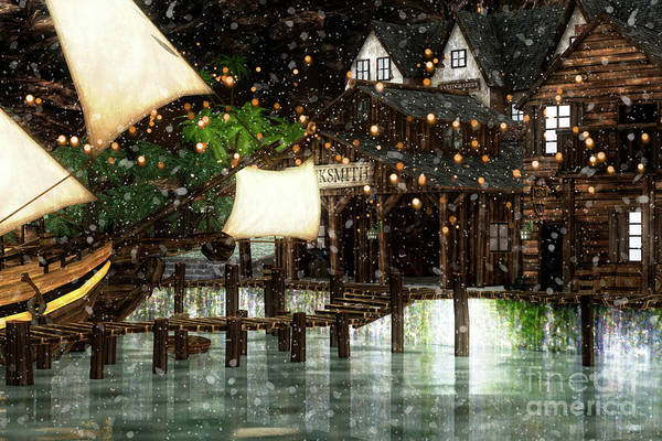 Digital Art - Wintery Inn by Digital Art Cafe