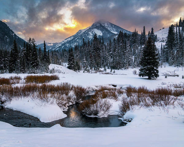 Photograph - Wintery Wasatch Sunset by James Udall