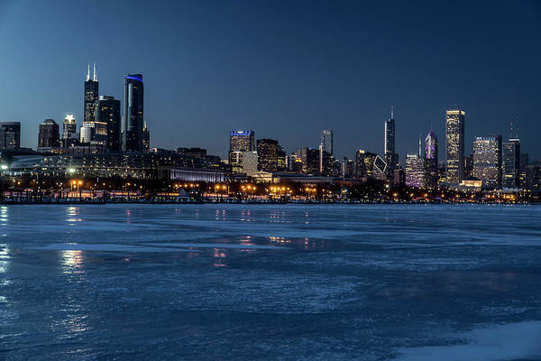 Photograph - Wintry Chicago Skyline At Dusk  by Sven Brogren