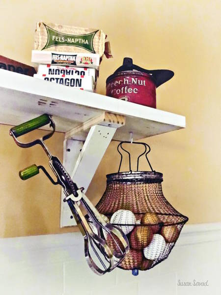 Photograph - Wire Basket Of Eggs And Egg Beater by Susan Savad
