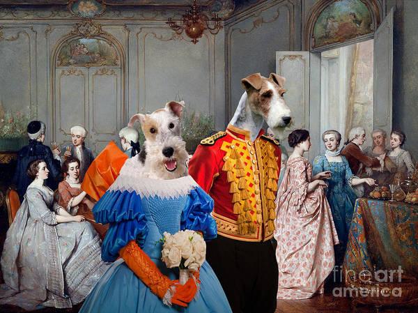 Wall Art - Painting - Wire Fox Terrier Art - Elegant Society by Sandra Sij