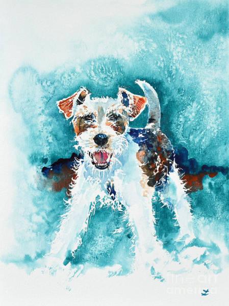 Fox Terrier Wall Art - Painting - Wire Fox Terrier by Zaira Dzhaubaeva