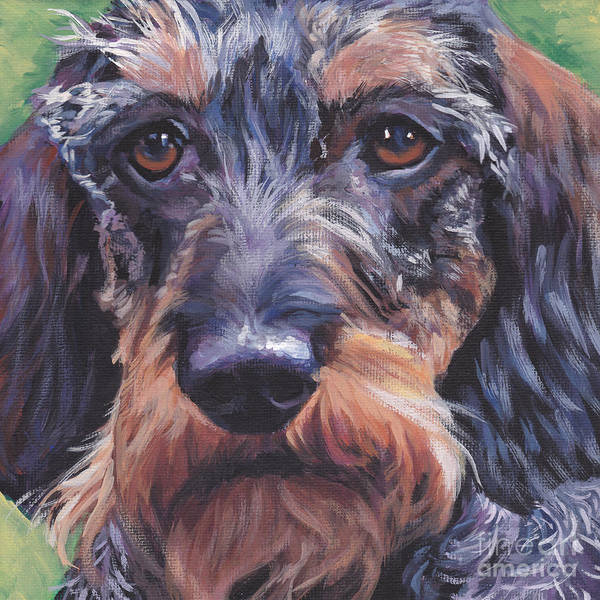 Wire Painting - Wire Haired Dachshund by Lee Ann Shepard
