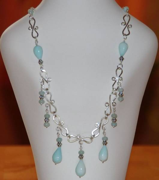 Peru Mixed Media - Wire Wrapped Handmade Romantic Blue Peruvian Opal Teardrops  And Sterling Silver Necklace by Nadina Giurgiu