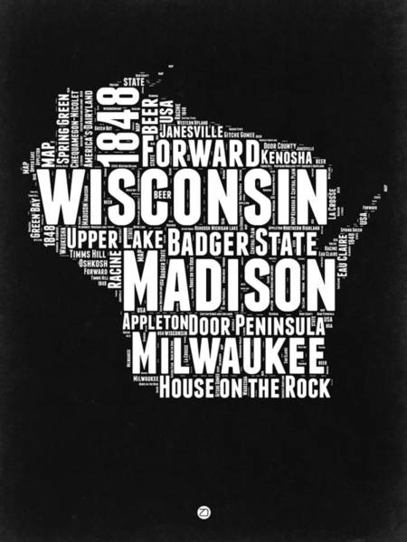 Wall Art - Digital Art - Wisconsin Black And White Word Cloud Map by Naxart Studio