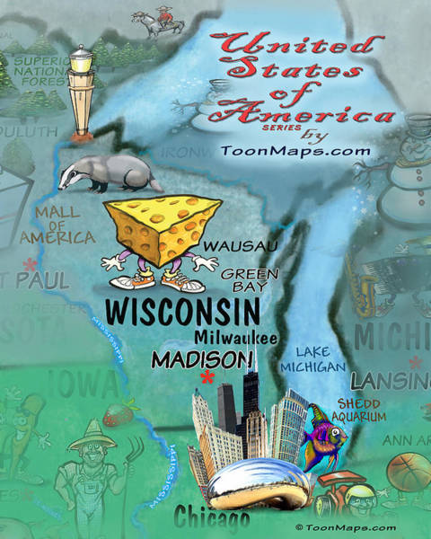 Digital Art - Wisconsin Fun Map by Kevin Middleton