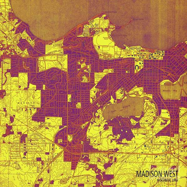 Nordic Digital Art - Wisconsin, Madison West Yellow, Purple And Brown Old Map, Year 1959 by Drawspots Illustrations