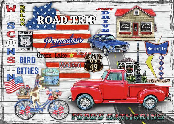 Wall Art - Digital Art - Wisconsin Road Trip Sign by Jean Plout