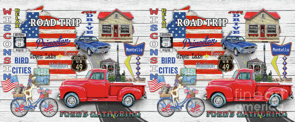 Truck Digital Art - Wisconsin Road Trip Sign-mug by Jean Plout