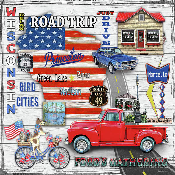 Truck Digital Art - Wisconsin Road Trip Sign-square by Jean Plout