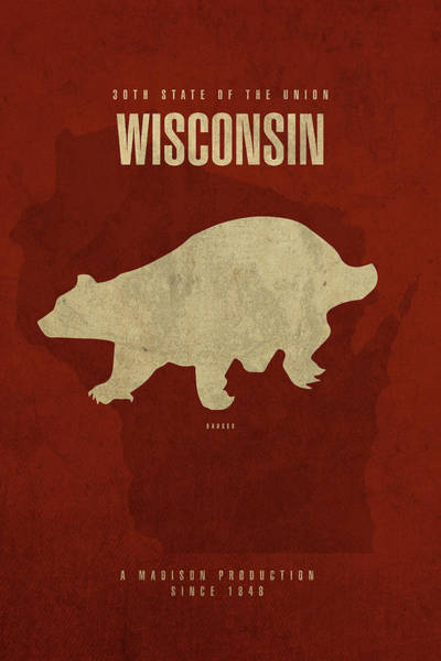 Wall Art - Mixed Media - Wisconsin State Facts Minimalist Movie Poster Art by Design Turnpike