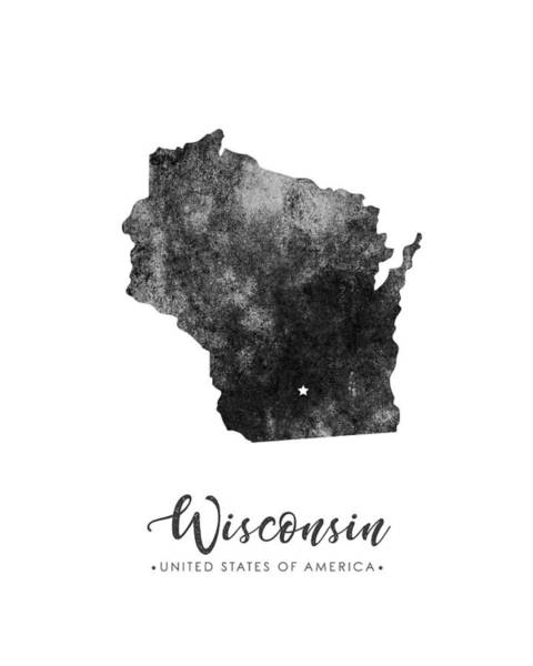 Map Of United States Mixed Media - Wisconsin State Map Art - Grunge Silhouette by Studio Grafiikka