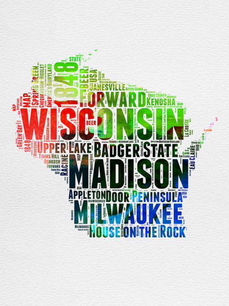 Wisconsin Wall Art - Digital Art - Wisconsin Watercolor Word Cloud Map  by Naxart Studio