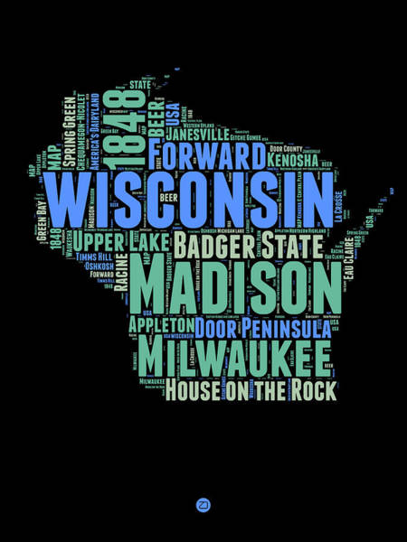 Wall Art - Digital Art - Wisconsin Word Cloud Map 1 by Naxart Studio