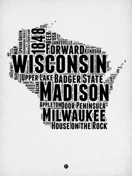 Wall Art - Digital Art - Wisconsin Word Cloud Map 2 by Naxart Studio