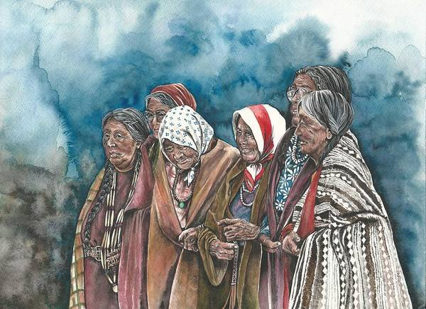 Native American Blanket Painting - Wisdom Keepers by Kim Whitton