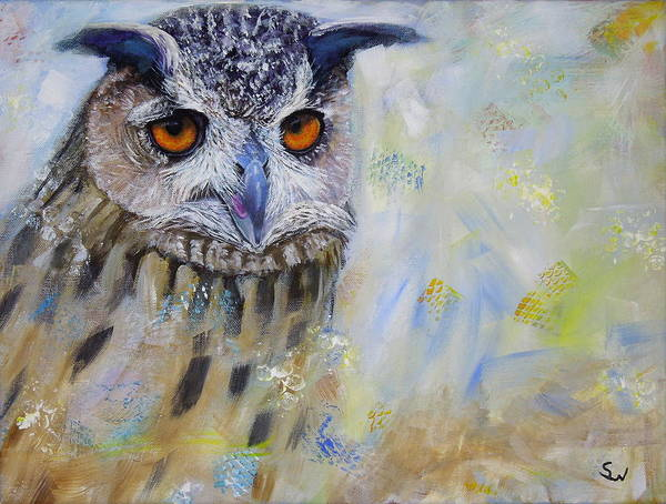 Painting - Wise Owl by Shirley Wellstead