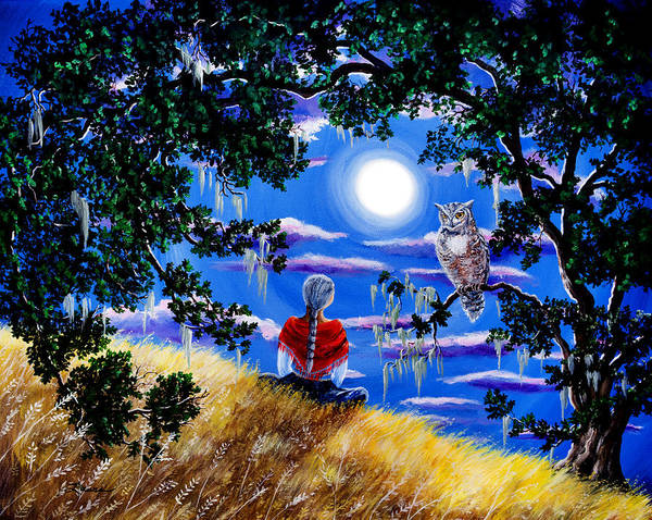 Owl Painting - Wise Woman And Owl Full Moon Meditation by Laura Iverson