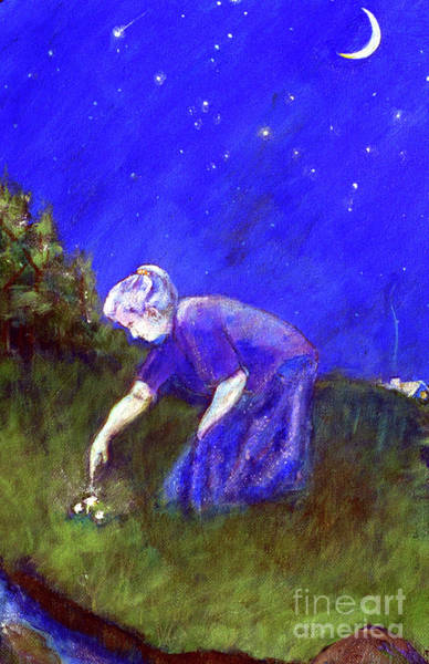 Wall Art - Painting - Wise Woman Finds Herbs by Doris Blessington