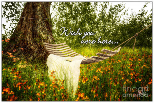 Tigerlily Wall Art - Digital Art - Wish You Were Here 140629 Postcard Style by Alina Davis