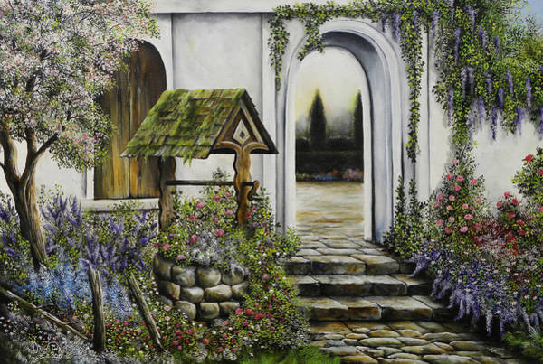 Wishing Well Painting - Wishing Well Garden by David Paul
