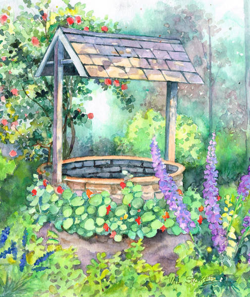 Wishing Well Painting - Wishing Well. by Val Stokes
