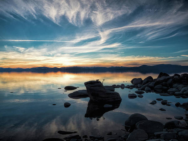 Photograph - Wispy Cloud Reflections by Martin Gollery
