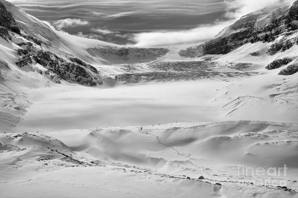 Photograph - Wispy Clouds Over The Athabasca Glacier Black And White by Adam Jewell